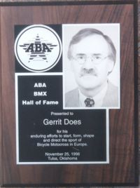 13 ABA Hall of Fame award of Gerrit Does 1998