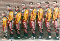 Team WEBCO 1998 - Mentos Europe FLTR Kevin Peter Marlies Michal Mark Anthony Rob and Pieter