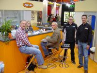 06 Twin Air both at the 2008 Cologne Motorcycle show left Gerrit Does Toon Karsmakers both sitting Pieter on far right