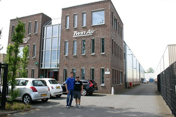 Eddy 2013 and Eddy in front of the TWIN AIR offices and factory.