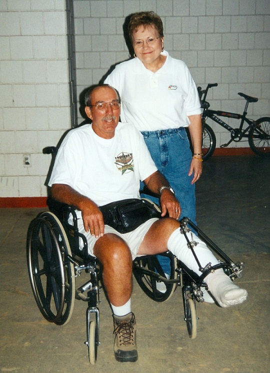 Picture taken during the 2001 Worlds, Erma Miller and her husband (NBL officials).