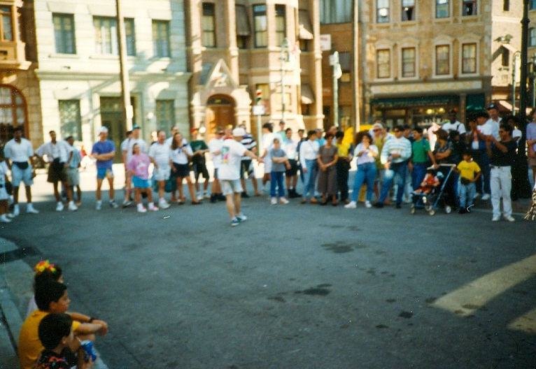 1990 Paul Roberts breakdancing look at the crowd early that morning at Universal in Orlando