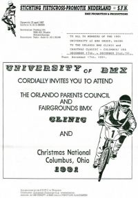1991 2nd University of BMX Training Camp in Orlando and participation in the 6th NBL Christmas Classic in Columbus-Ohio USA