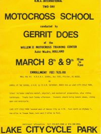 07 Flyer on Gerrit Does conducting a moto-cross training camp in the Kansas City area 1974