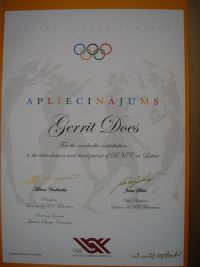 15 Appreciation Award by the Latvian Olympic Committee September 2003