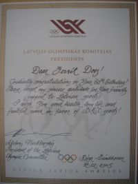 16 GD turning 60 and receive this award from the Latvian Olympic Commitee