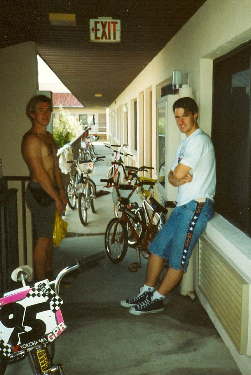 1990 Univofbmx training camp in Orlando Dale Holmes l and Nico Does r ready to go to the BMX track for training
