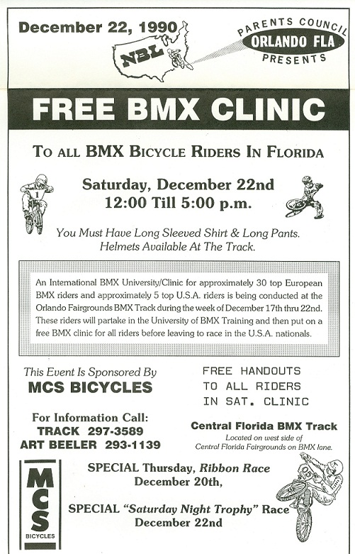 poster advertising the Univofbmx Training Clinic at the Parents Council BMX track Orlando