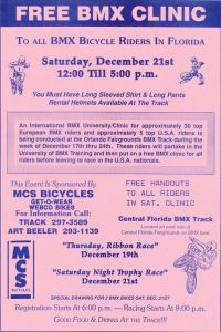 23 Poster announcing the UNIVofBMX Free BMX Clinic