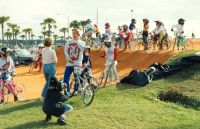 24 BMX clinic in progress in front one of the trainer-coaches Nico Does